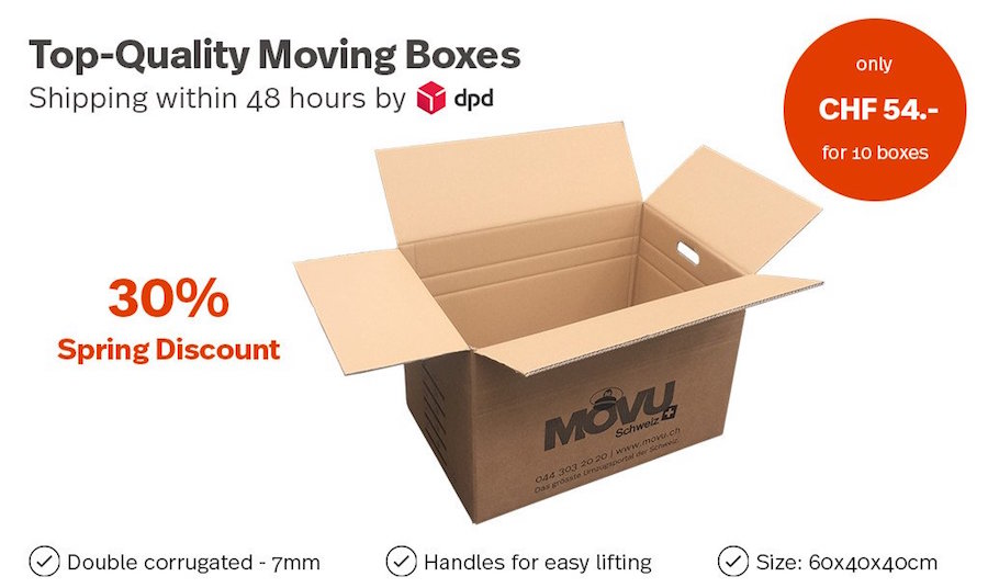 Moving boxes - discount in our moving shop