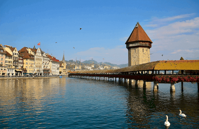 Aussicht auf die Kappellbrücke in Luzern