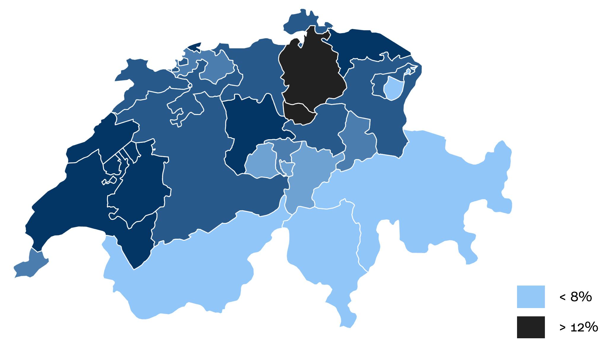 Die Grafik zeigt die Schweiz, die Kantone sind unterschiedlich eingefärbt und zeigen die Umzugsquote an.