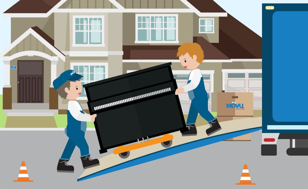 A picture of two guys moving the piano into the moving truck.