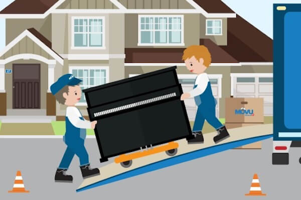 two people moving a piano into the moving van