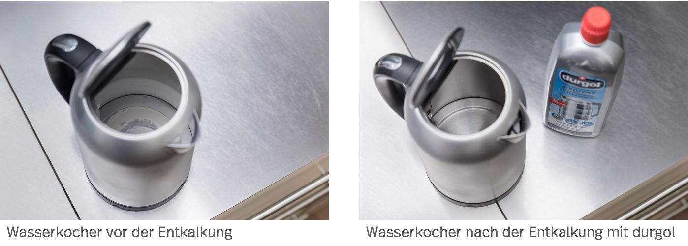 Wasserkocher vor und nach der Entkalkung mit durgol